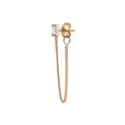 Selin Kent 14K Gaia Stud Chain with White Diamond Baguette