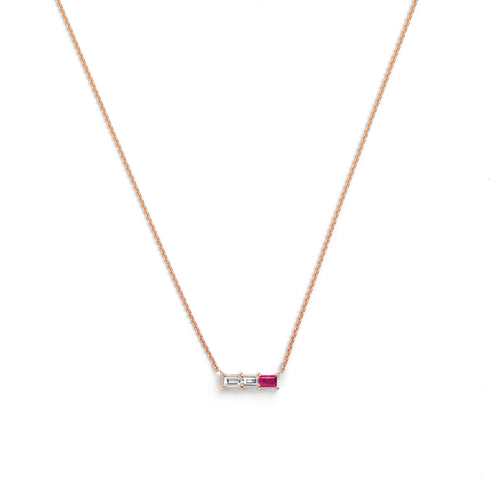 Selin Kent 14K Rhea Necklace with Two Baguette White Diamonds and One Ruby Baguette