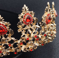 Hair Accessories - Baroque Style with Red Rhinestones Tiara Earring 2 pcs set