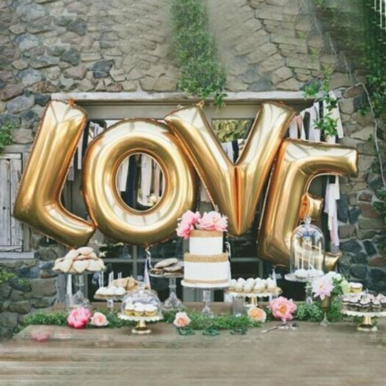 Gold Letter Foil Balloons - Great for Birthday, Party, & Wedding Decor