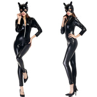 Halloween Costume Adult Women Deluxe Leather Catsuit Jumpsuit