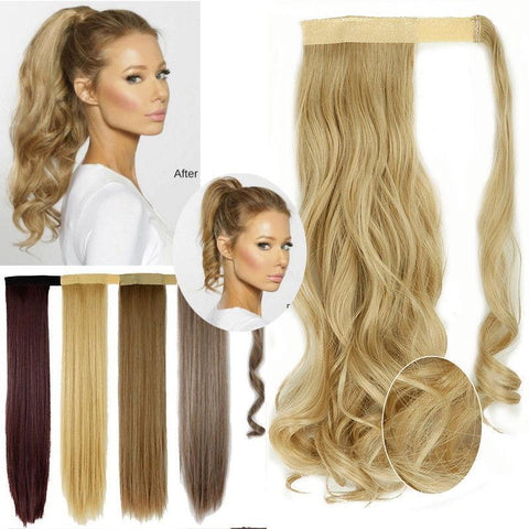 Clip In Synthetic Wrap Around Pony Tail Hair Extension For Women 1 / Wavy