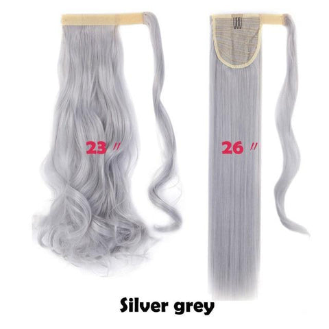 Clip In Synthetic Wrap Around Pony Tail Hair Extension For Women silver grey / Wavy