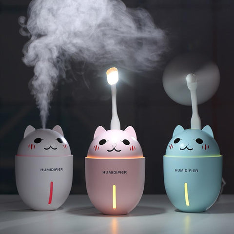 Cute Cat 3 in 1 320ML USB Air Humidifier WHITE