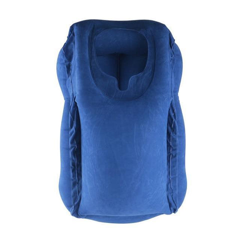 Inflatable innovative Body and Back Support Foldable Blow Neck Travel Pillow Travel Pillows blue Knights Store