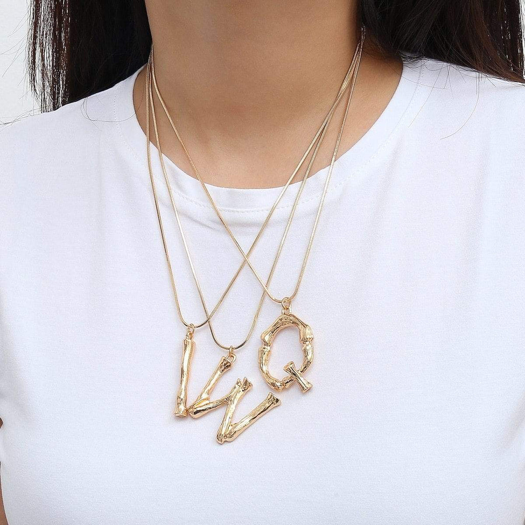 ZIIME 2019 New Alphabet Initial Letter Pendant Necklace Female Gold Silver Color Snake Chain Choker Collar Necklaces for Women Gold-color / A