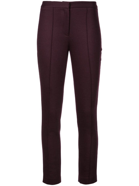 ADAM LIPPES Double Face Wool Cigarette Pant W Pintucks - Burgundy