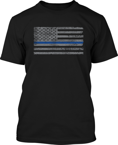 Blue Line Flag - Mens Patriotic Shirts