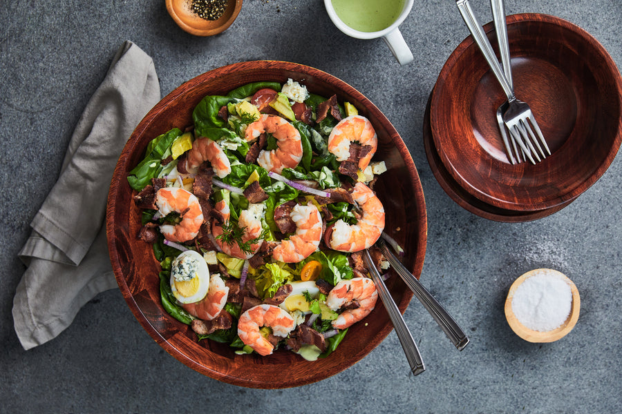 20-Minute Chopped Salad Recipe with Oishii Shrimp & Thick-Cut Bacon