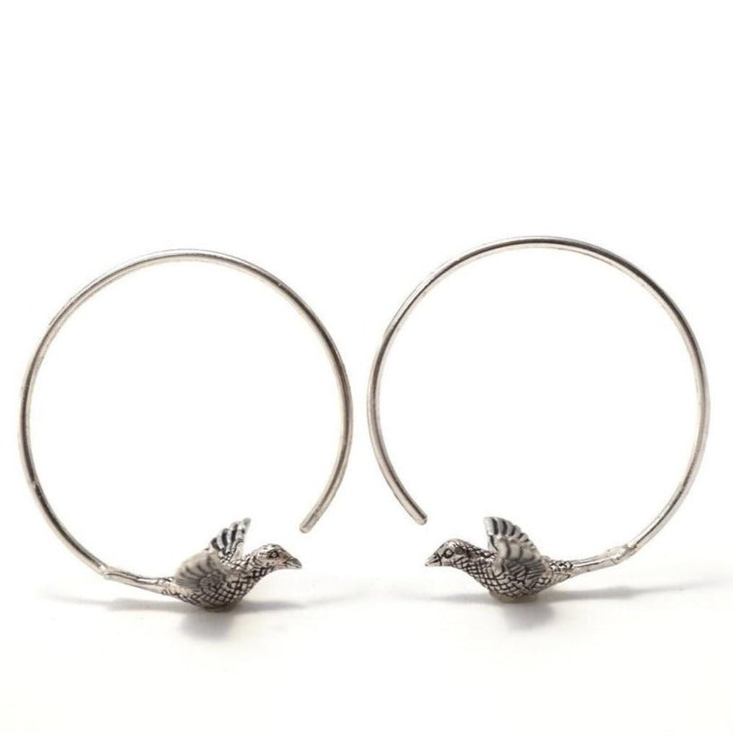 Small Love Birds Earrings - Solid Sterling Silver Hoops