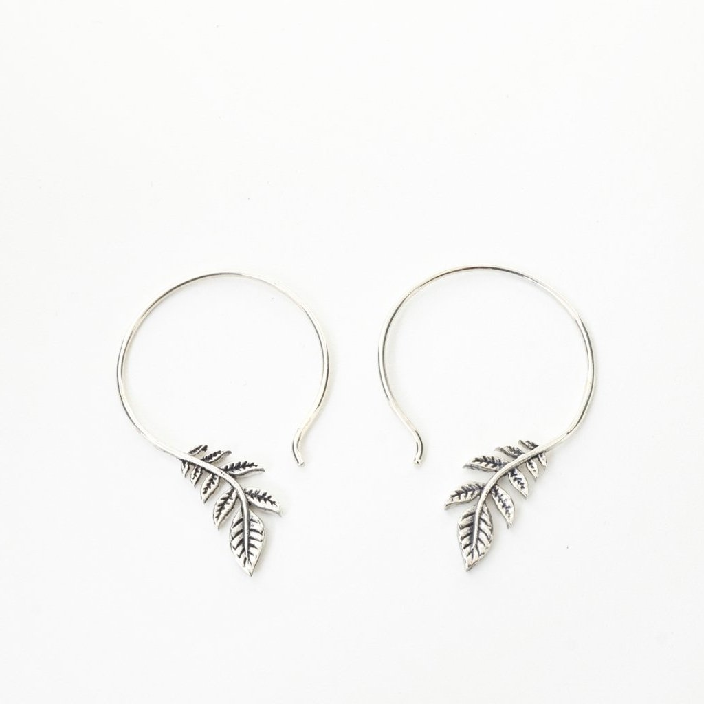 Silver leaf earrings - Sterling Silver