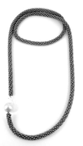 358SIL- Silver Long Hematite N w. Single Pearl