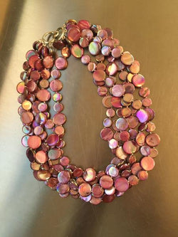 Purple 5 Strand Mother of Pearl Necklace