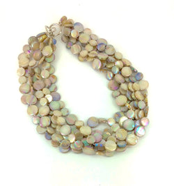 Taupe 5 Strand Mother of Pearl Necklace