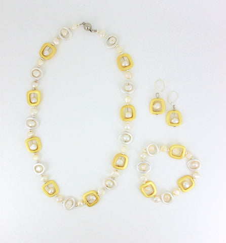 Geometric Silver and Gold with White Pearls Set