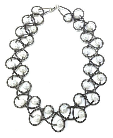 Slate Lace Piano Wire Necklace w. White Pearls