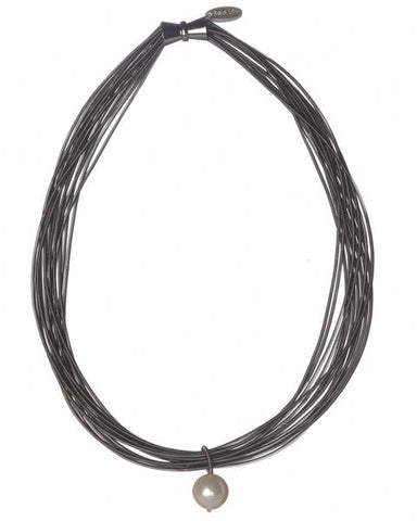 Slate Piano Wire Necklace with Single White Pearl