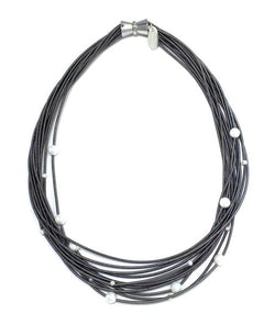 Slate Piano Wire Necklace with White Freshwater Pearls