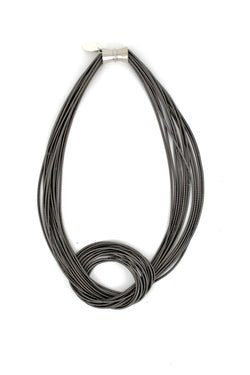 Slate Large Knot Piano Wire Necklace