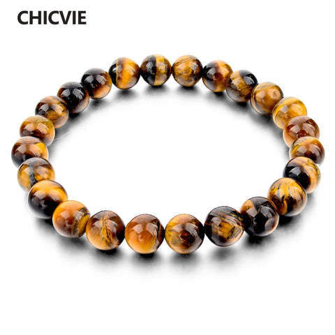 CHICVIE Tiger Eye Love Buddha Bracelets & Bangles Trendy Natural Stone Bracelet For Women Famous Brand Men Jewelry SBR140389