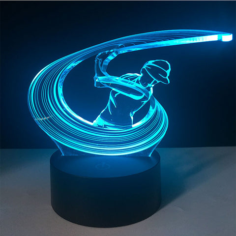 3D Illusion Night Light  LED Light 7 Color with Touch Switch USB Cable Nice Gift Home Office Decorations,Golf
