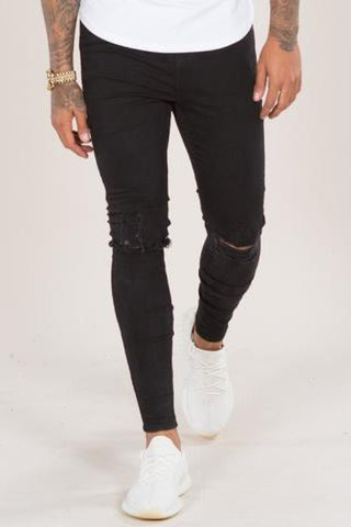 Emulate Mirano Spray on Ripped Skinny Jeans - Black