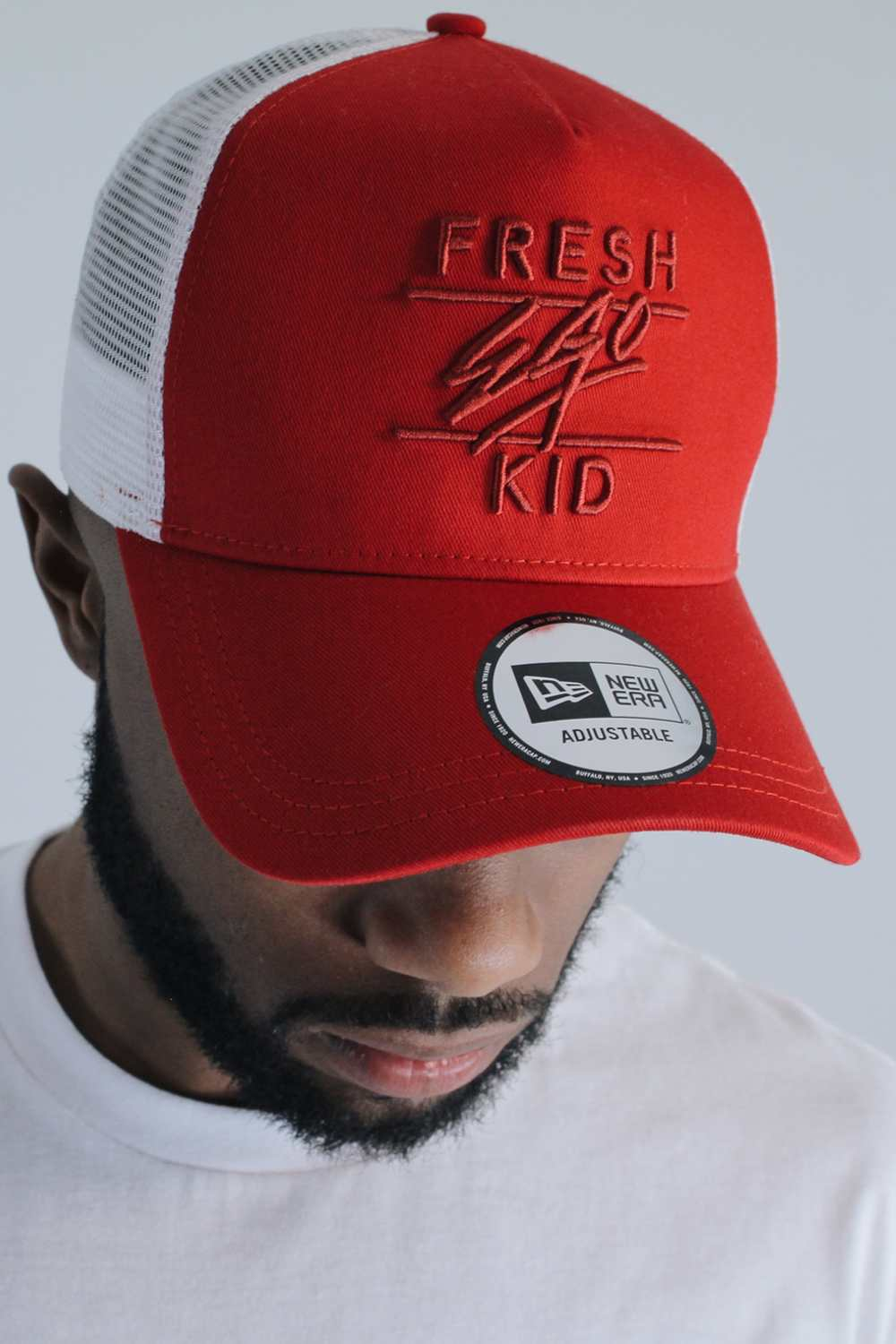 Fresh Ego Kid New Era Mesh Trucker Cap - Red/White