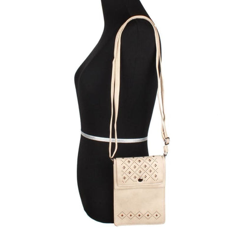 Vegan Suede Diamond Laser Cut Crossbody With Adjustable Strap Bone - Phone Wallets Wristlets & Clutches