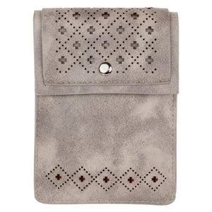 Vegan Suede Diamond Laser Cut Crossbody with Adjustable Strap, Gray