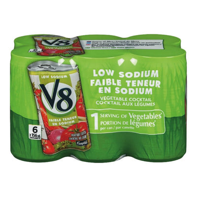 V8 COCKTAIL LEGUMES FAIBLE TENEUR SODIUM 6 x 156 ML