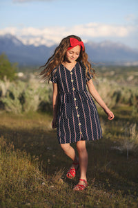 Briar Button Dress-Navy