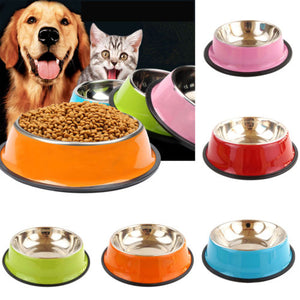 Pets Dog Cat Puppy Anti Skid Stainless Steel Travel Feeding Food Water Bowl Dish For Cat Puppy 6 Colors