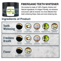 Fiberganic Charcoal Teeth whitening Powder 2.1 Ounce 3-Pack
