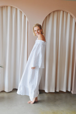 deiji - 05 linen lounge long dress - white