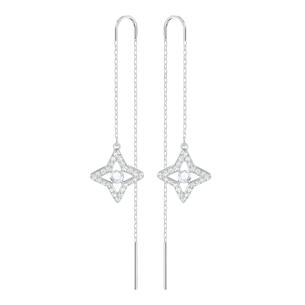Sparkling Dance Star Pierced Earrings, White, Rhodium Plating