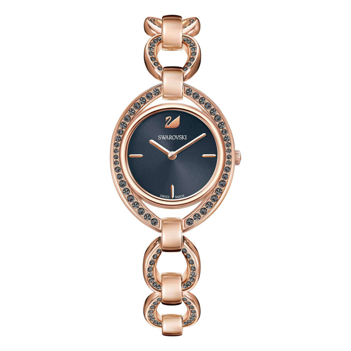Stella Watch, Metal Bracelet, Dark Gray, Rose Gold Tone