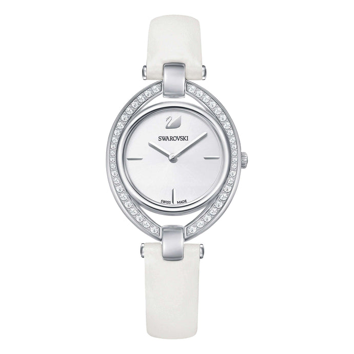 Stella Watch, Leather Strap, White, Stainless Steel