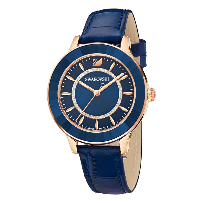 Octea Lux Watch, Leather Strap, Blue, Rose Gold Tone