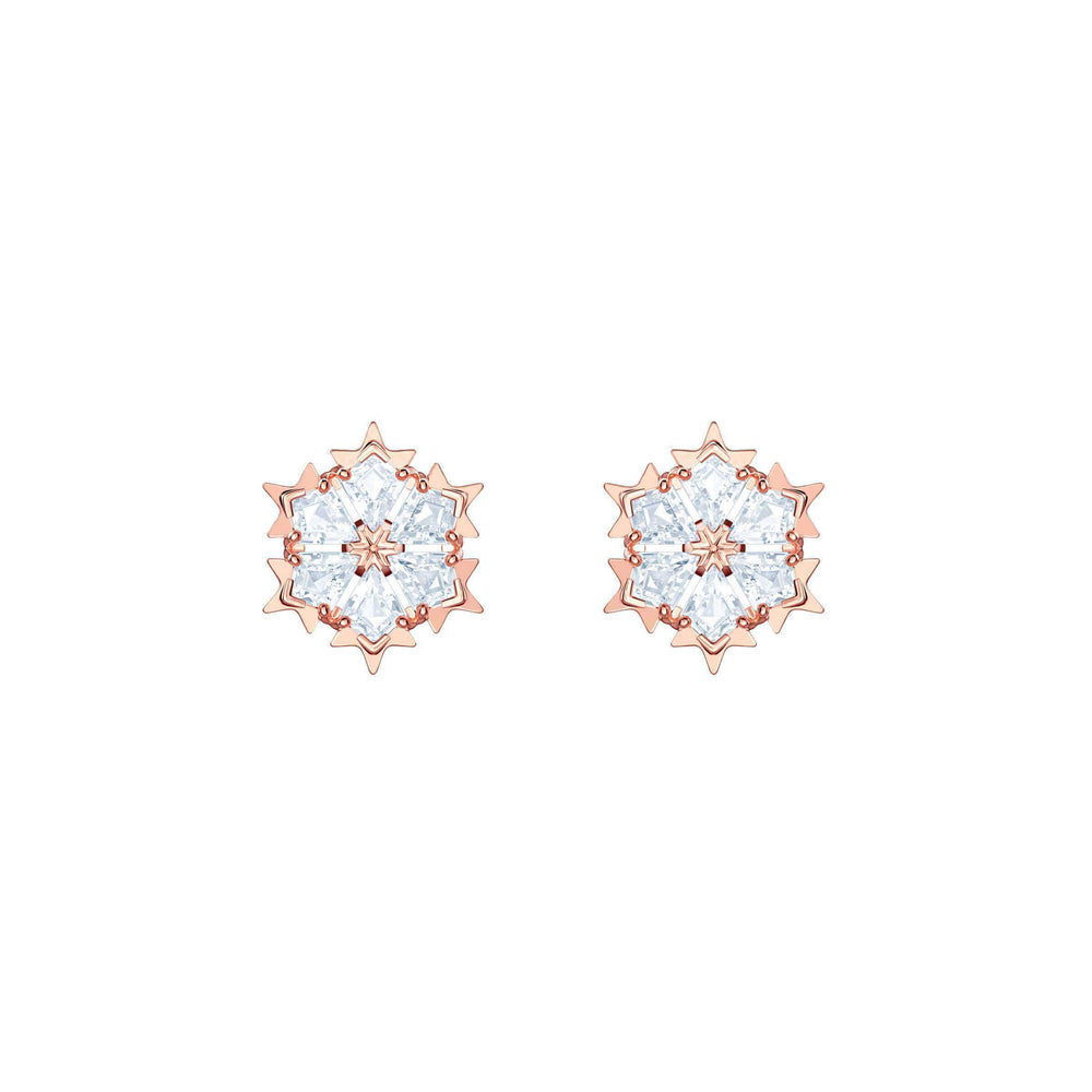 Magic Pierced Earrings, White, Rose Gold Plating