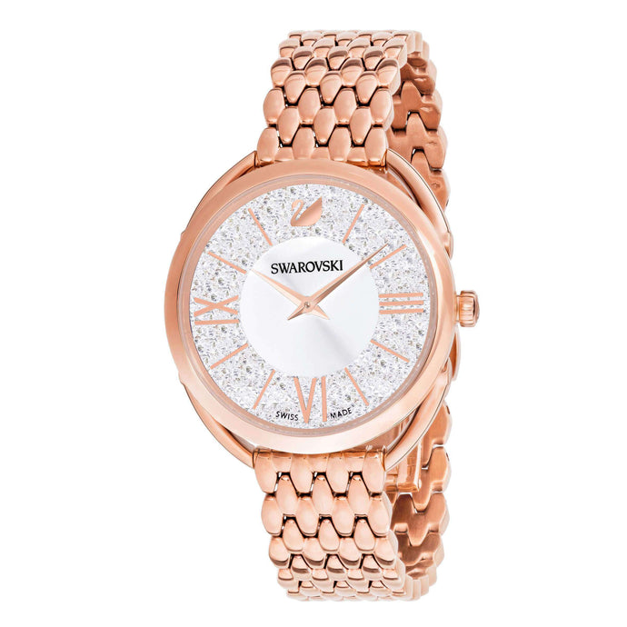 Crystalline Glam Watch, Metal Bracelet, White, Rose gold tone