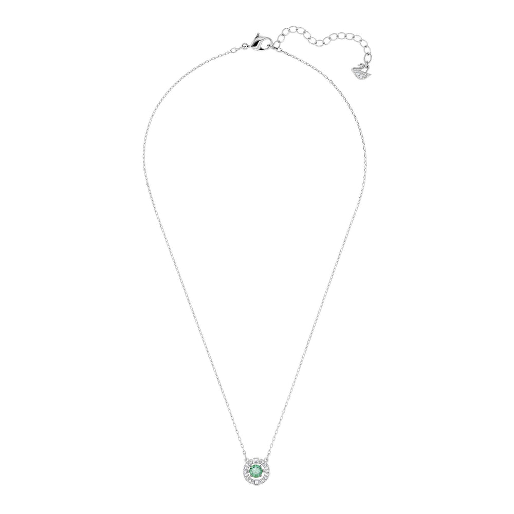 Sparkling Dance Necklace, Green, Rhodium plated
