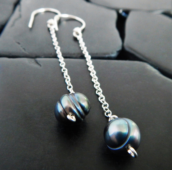Extra-Long Black Freshwater Pearl and Sterling Silver Earrings