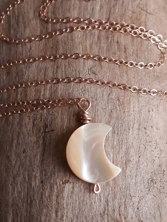 Delicate Carved Mother of Pearl Crescent Moon Pendant Necklace