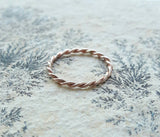Twisted Gold Rope Ring - Gold Fill Ring - Rose Gold Ring - Yellow Gold Ring - Minimalist Gold Ring - Delicate Ring - Thin Ring - Gold Band