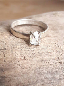 Hammered Sterling Silver and Herkimer Diamond Quartz Crystal Ring