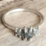 Three Stone Rough Diamond and Sterling Silver Ring