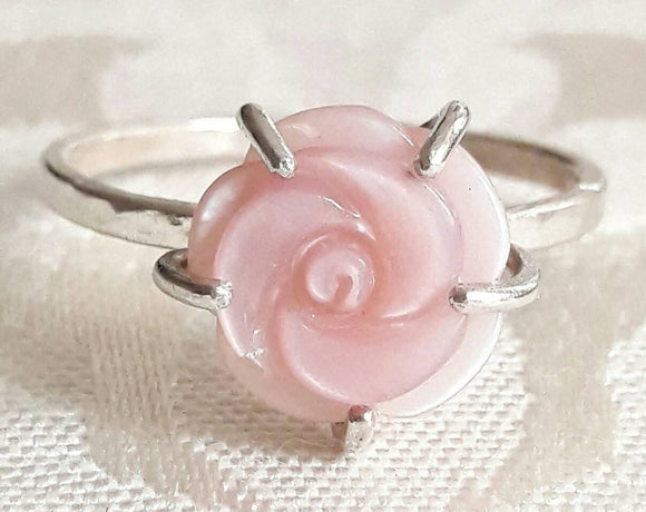 Carved Mother-of-Pearl Rose Ring