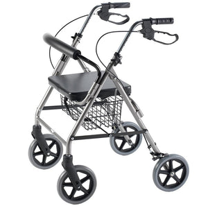Rollator with Curved Backrest with Extended Handles