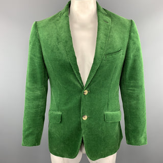 ETRO Size 40 Green Corduroy Notch Lapel Two Buttons Sport Coat Jacket