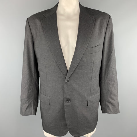 KITON Size 50 Charcoal Wool Notch Lapel Chest Regular Sport Coat Jacket